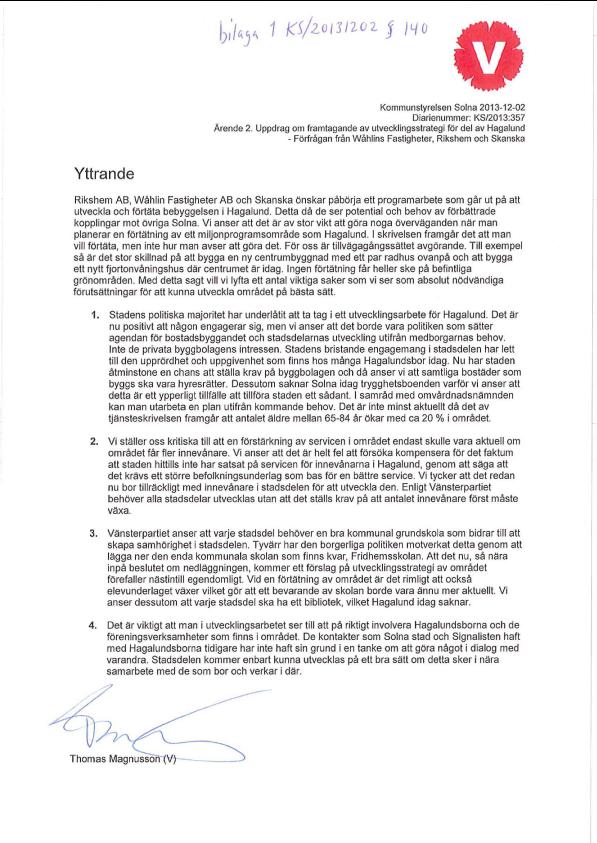 2013-12-02-Yttrande-från-V-rörande-förfrågan-från-Rikshem-AB,-Wåhlin-AB-och-Skanska-Fastigheter-AB