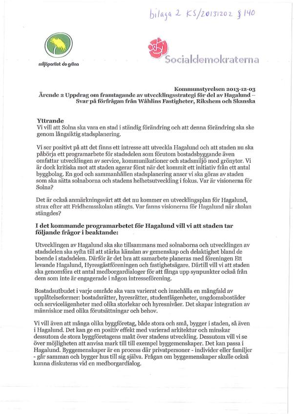 2013-12-03-Yttrande-från-S-och-MP-på-förfrågan-från-Wåhlins-Fastigheter,-Rikshem-och-Skanska