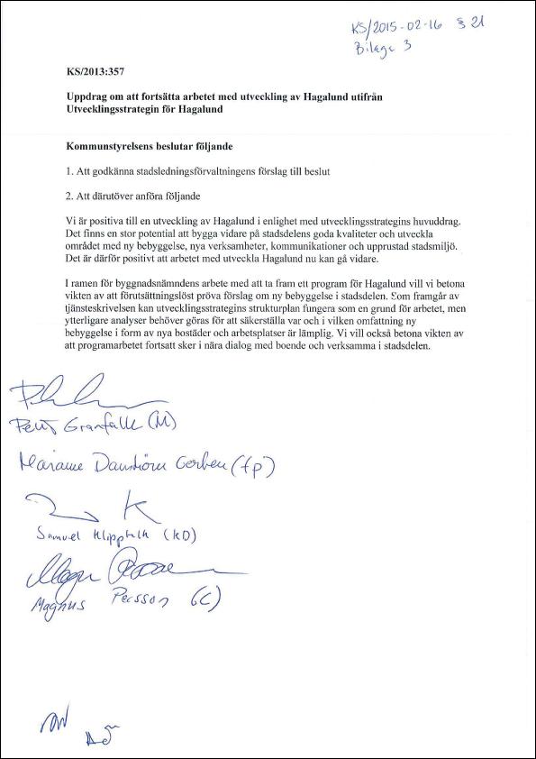 2015-02-16-Yttrande-från-M,-C,-FP,-KD-om-beslut-om-att-fortsätta-arbetet-med-utveckling-av-Hagalund-utifrån-Utvecklingsstrategin-för-Hagalund