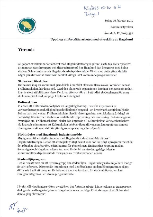 2015-02-16-Yttrande-från-MP-rörande-om-beslut-om-att-fortsätta-arbetet-med-utveckling-av-Hagalund-utifrån-Utvecklingsstrategin-för-Hagalund