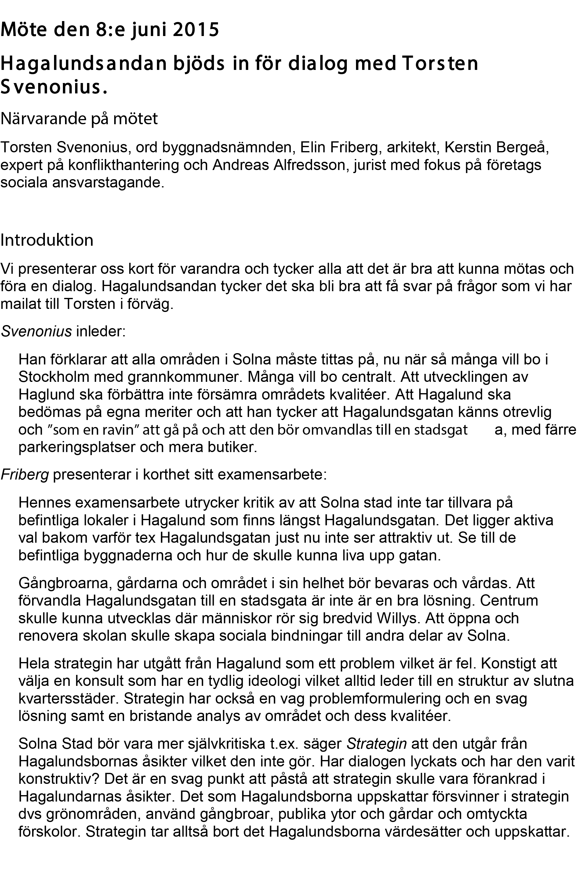 Möte med Svenonius 2015-06-08